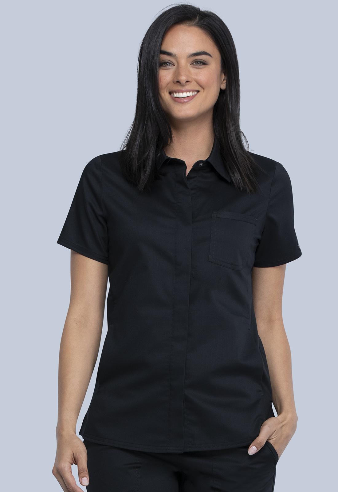 Hidden Snap Front Collar Shirt