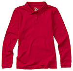 58542-RED girls long sleeve fitted polo