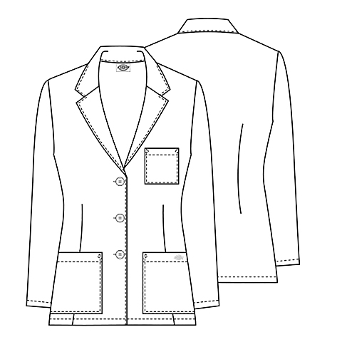 """Dickies 28/"""" Antimicrobial Lab Coat 84401A WHWZ White Free Shipping"""