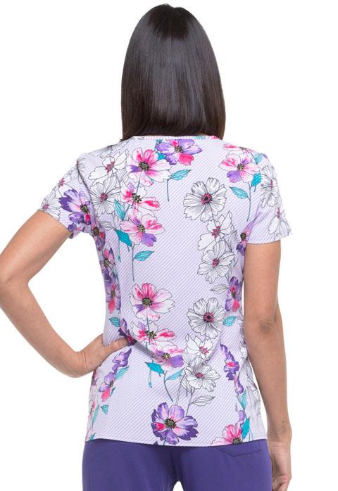 Dickies Women/'s Print Scrub Top DK702 TRSU V-Neck Medical Uniform Sizes XS to M