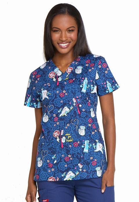 Dickies EDS Signature by Women/'s V-Neck Floral Print Top DK704 FREE SHIPPING!